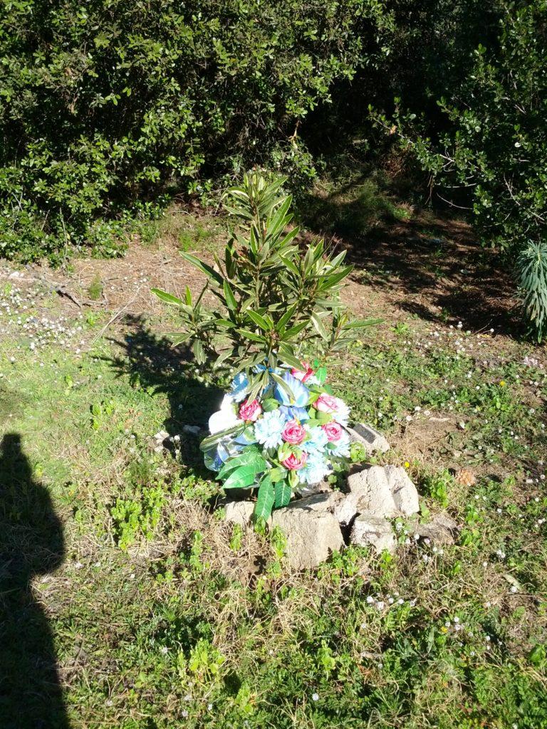 Suposada tomba amb flors de plàstic
