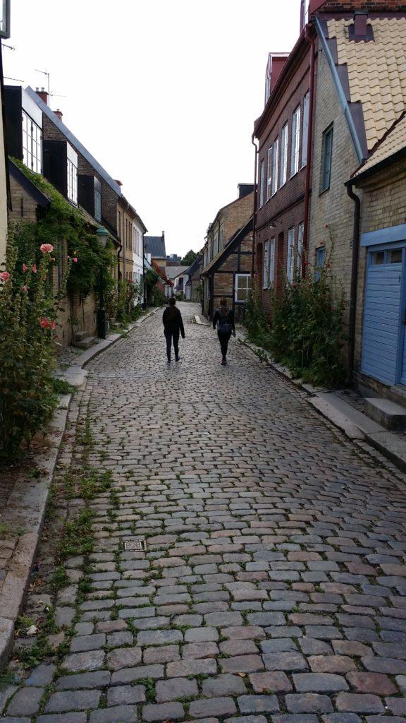Ada i jo caminant d'esquenes per un carrer de llambordes