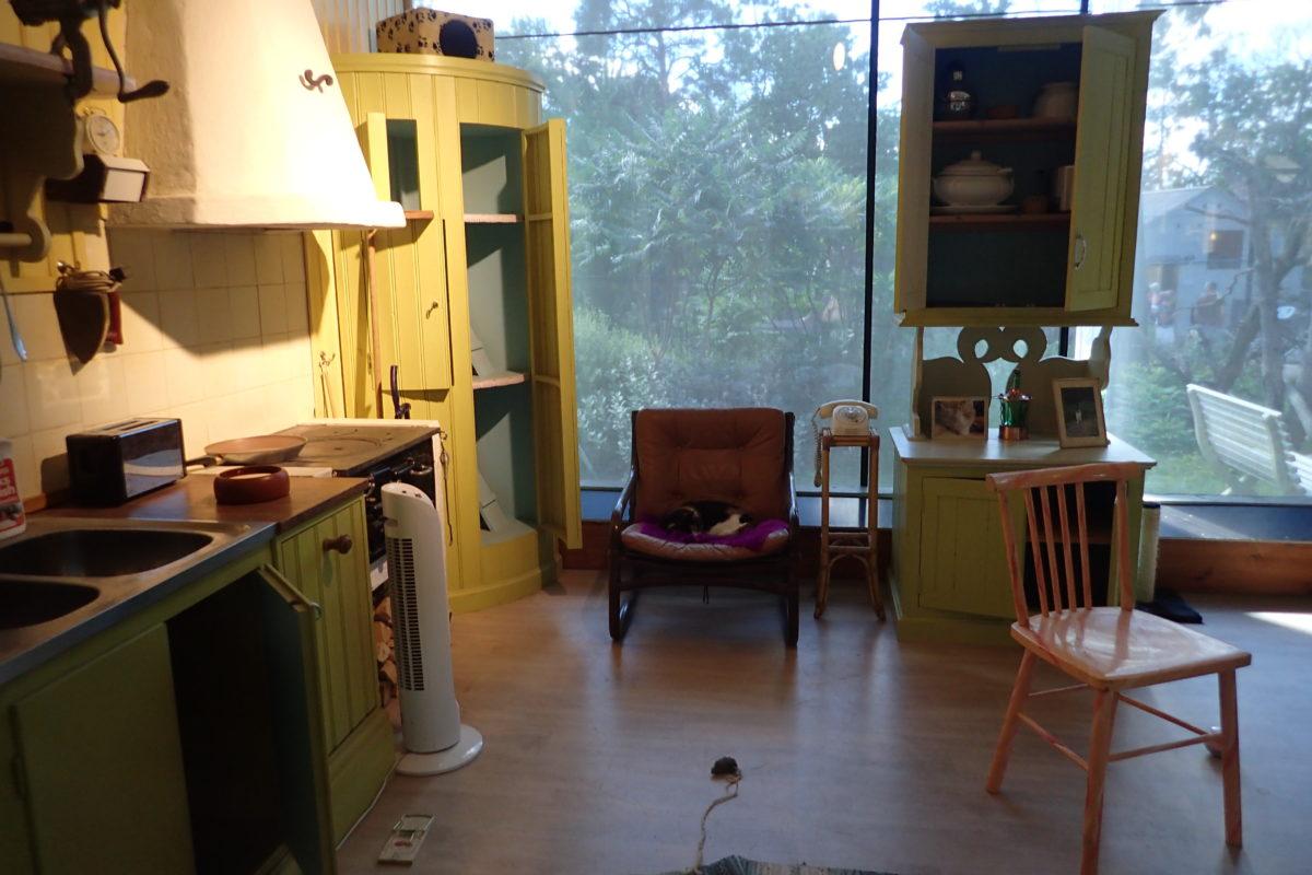 Simulació de la sala d'estar d'una casa amb un gat al sofà