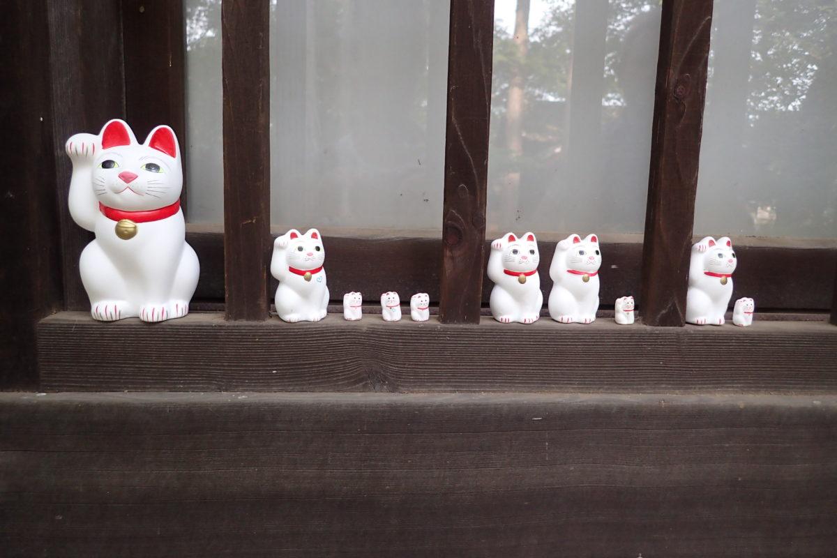 Detall d'una finestra del temple de Gotokuji amb maneki nekos