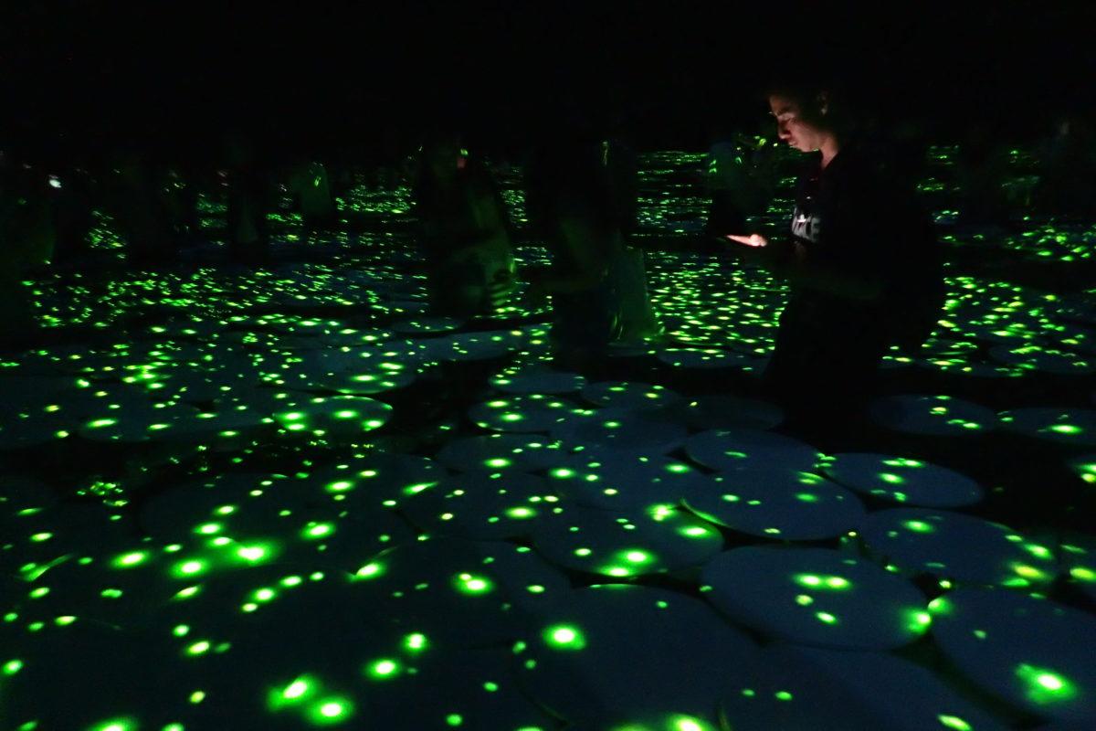 Instal·lació de llum de Teamlab, amb punts verds