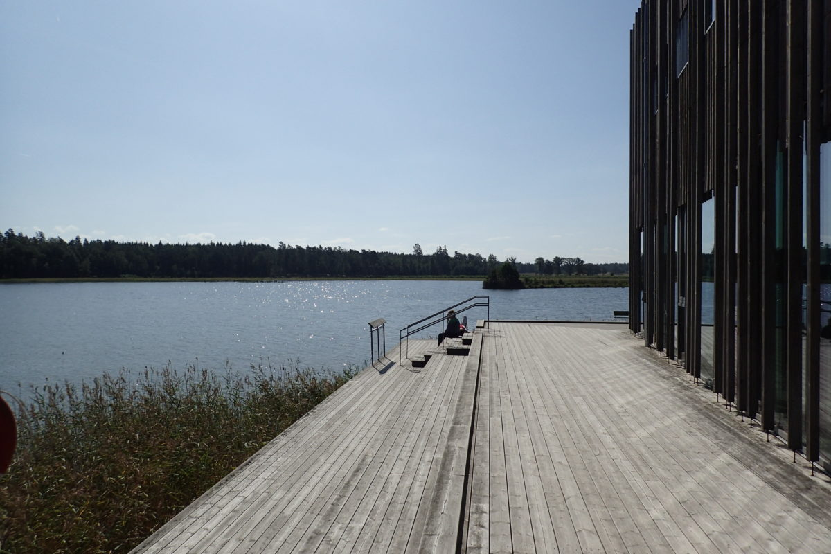 Vista exterior del Naturum, amb tarima i escales de fusta