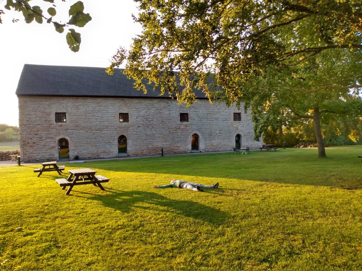 Edifici del graner molt ben conservat al fona, Dani estirat a la gespa de davany banyat les la llum del sol.